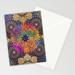 Bohemian 1960's Mandala Pattern of Joy Stationery Cards