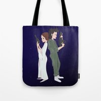 ripley Tote Bags featuring Leia and Ripley by Ashley Anderson