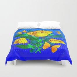 YELLOW BUTTERFLIES, ROSES, & BLUE OPTICAL ART Duvet Cover