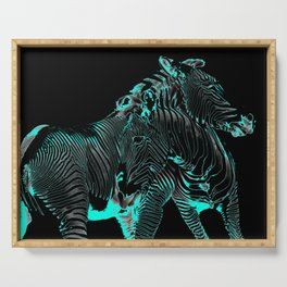 Turquoise Inverse Zebras Serving Tray