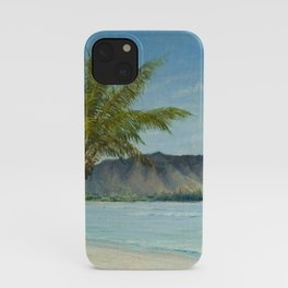 Waikiki Beach at First Sunlight tropical island landscape painting by D. Howard Hitchcock iPhone Case