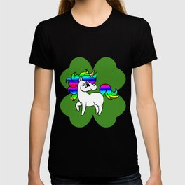 Unicorn On 4 Leaf Clover - St. Patricks Day T-shirt