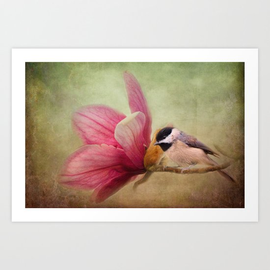 Welcome Spring - Chickadee - Bird and Flower Art Print