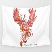 phoenix Wall Tapestries featuring Phoenix by Raquel C. Hita - Sednae
