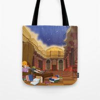 hermione Tote Bags featuring Hermione  by Lesley Vamos