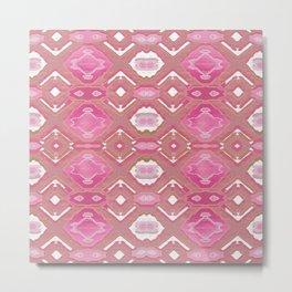 Pink Warm Boho Neo Tribal Texture Lace Metal Print