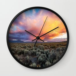 Enchanted Evening - Colorful Storm Cloud Over Desert near Taos, New Mexico Wall Clock