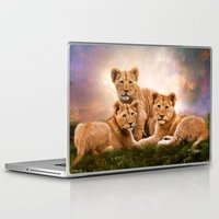 lions Laptop & iPad Skins featuring Little Lions by Angelgold Art