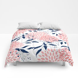 Floral Prints and Leaves, Navy Blue, Pink and White Comforters