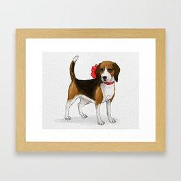 Beagle in a Bow Framed Art Print