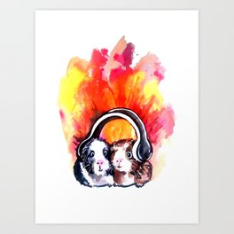 Guinea Pigs Music Art Print