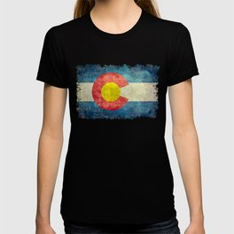 Colorado flag with Grungy Textures T-shirt