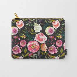 black and pink floral Carry-All Pouch