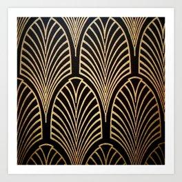 Art nouveau Black,bronze,gold,art deco,vintage,elegant,chic,belle époque Art Print