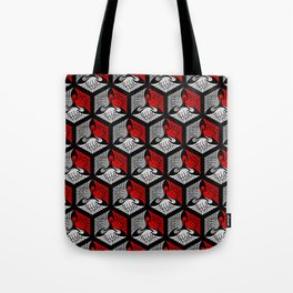 Japanese Cranes, Red, Gray / Grey and Black Tote Bag