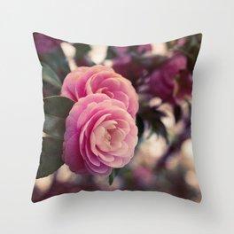 Pink camellia Throw Pillow