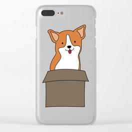 Corgi-in-a-box Clear iPhone Case