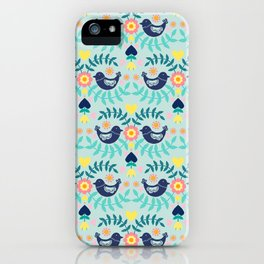 Folky Pattern Light Blue iPhone Case