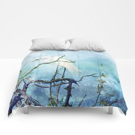 Rookery White Egret Comforters