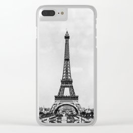 Eiffel tower in B&W with painterly effect Clear iPhone Case