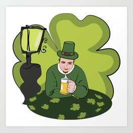 St Patricks Day Man with Beer Art Print