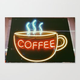 Coffee Shops and Neon Lights Canvas Print