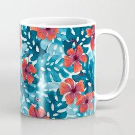 Tropical Hibiscus Pattern Red Coffee Mug
