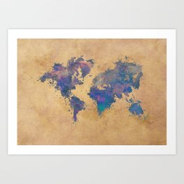 world map 92  #worldmap #map #world Art Print