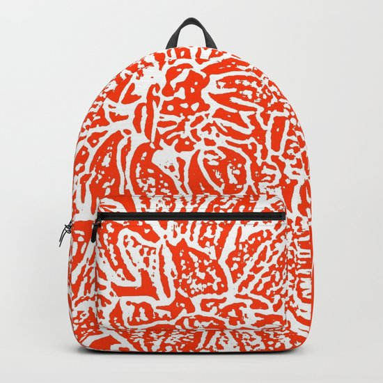 Dahlia Lino Cut, Fiery Red Backpack