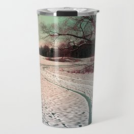 A snowy trail and some trees Travel Mug