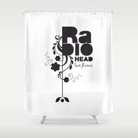radiohead Shower Curtains featuring Last flowers Song - Radiohead - black version by LilaVert