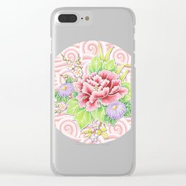Pink Kimono Bouquet Clear iPhone Case