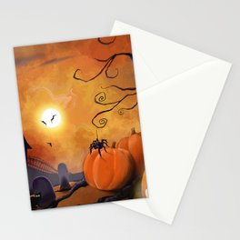 Halloween Cemetery Pumpkins Spiders and Bats Stationery Cards