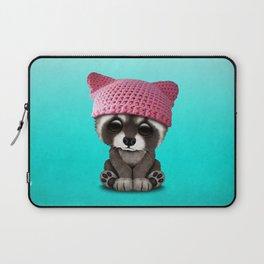 Cute Baby Raccoon Wearing Pussy Hat Laptop Sleeve