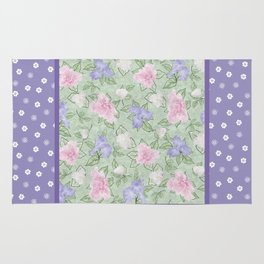 Flower Play Antique over Purple Tiny Flowers Rug