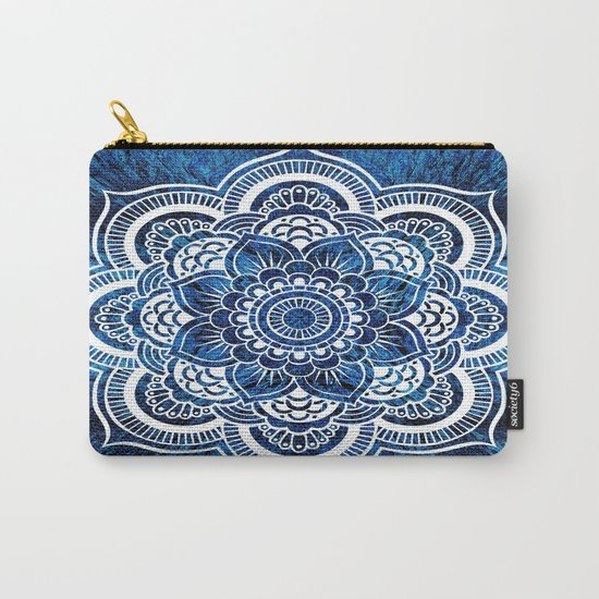 Mandala Cerulean Blue Colorburst Carry-All Pouch