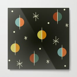 Mid Century Modern Abstract Spheres and Stars Dark Metal Print