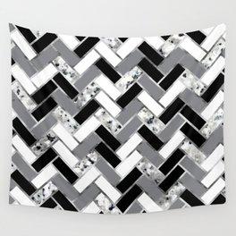 Shuffled Marble Herringbone - Black/White/Gray/Silver Wall Tapestry