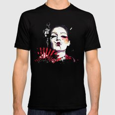 Japanese Creepy Geisha Mens Fitted Tee Black MEDIUM