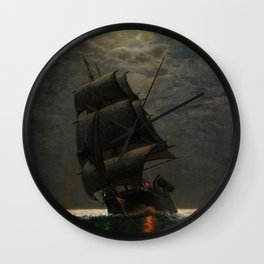 Schooner at Midnight off the Rhode Island Coast by James Gale Tyler Wall Clock