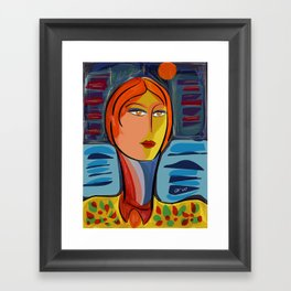 Woman at the window on the French Riviera Framed Art Print
