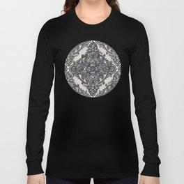 Charcoal Lace Pencil Doodle Long Sleeve T-shirt