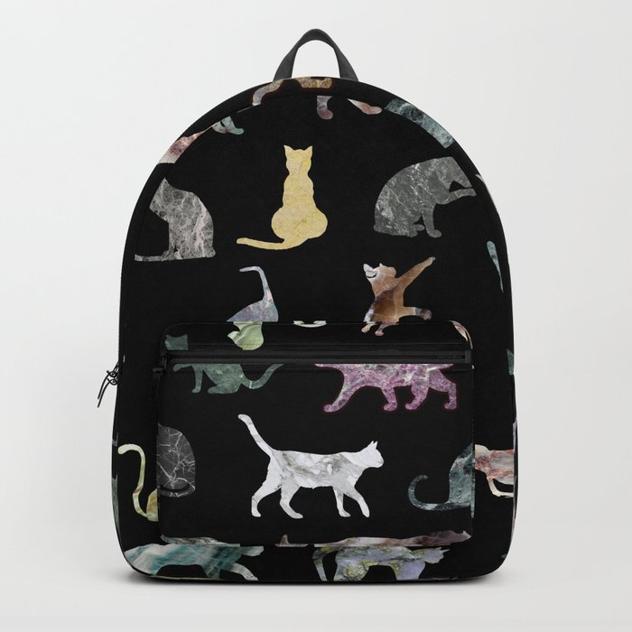 Cats shaped Marble - Black Backpack