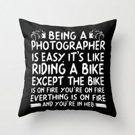 photographer photography camera photo lens Throw Pillow