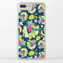 Toucans Everywhere - Blue Clear iPhone Case