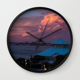 Sunset on the coast of Mar del Plata Wall Clock