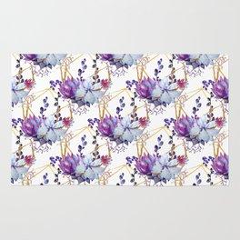Watercolor purple lavender teal hand painted cactus floral Rug