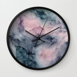 Blush Gray Blue Flowing Abstract Glow Up 1 Wall Clock