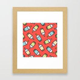 Bubble Tea Pattern in Red Framed Art Print