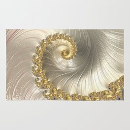 Gold and Pearl Fractal Swirl Rug